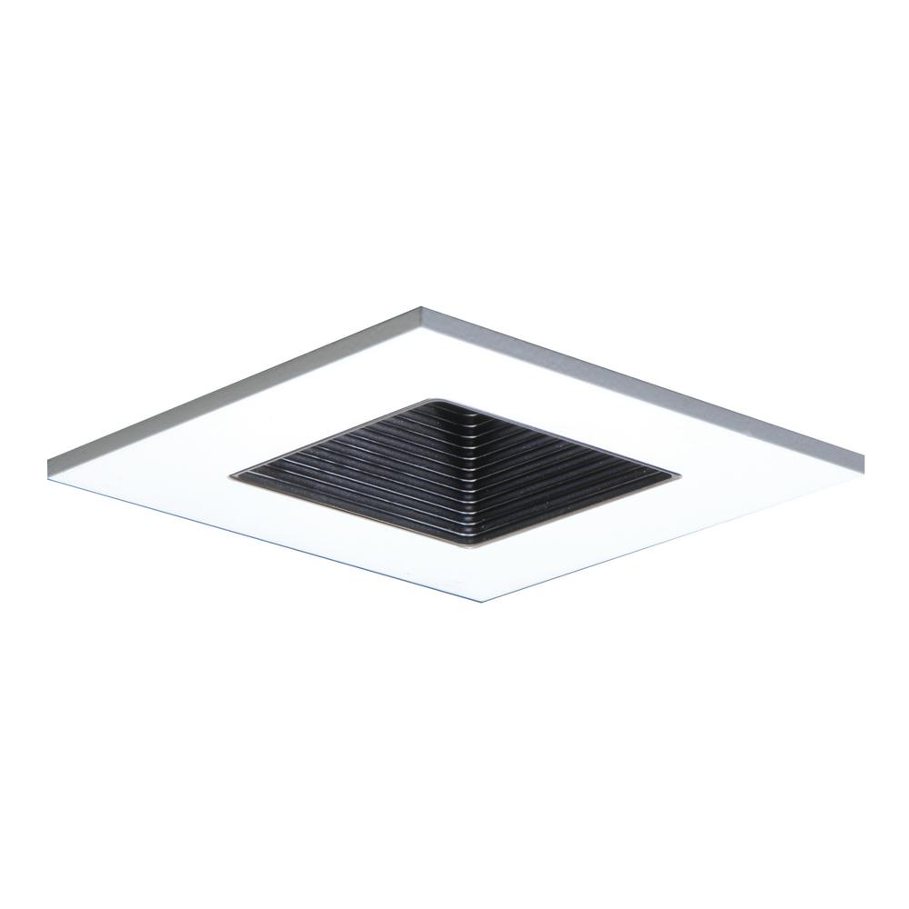 3 in. White Recessed Ceiling Light Square Trim with Regressed Lens