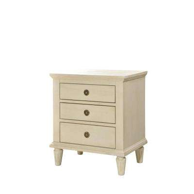 Cambridge 3-Drawers White Wash Night Stand