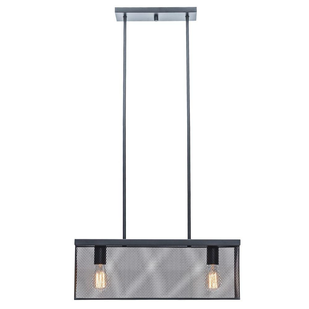 Globe electric 23 in 2 light bronze linear pendant with metal 2 light bronze linear pendant with metal mesh shade 65018 the home depot mozeypictures Gallery