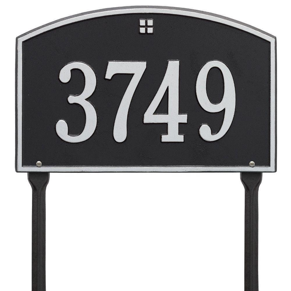 Cape Charles Standard Rectangular Black/Silver Lawn 1-Line Address Plaque