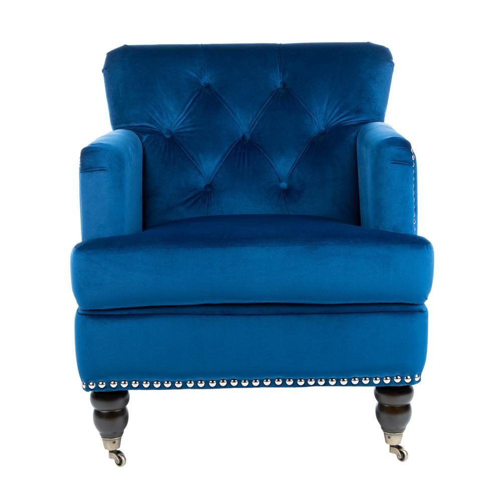 Colin Navy Blue/Espresso Accent Chair