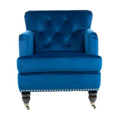 Colin Navy Blue/Espresso Accent Chair