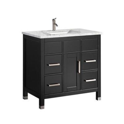 Reisa 36 in. W x 22 in. D x 36 in. H Bath Vanity in Espresso with Grey/White Carrara Marble Vanity Top with White Basin
