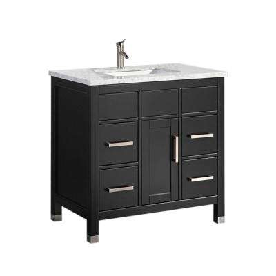 Reisa 36 in. W x 22 in. D x 36 in. H Vanity in Espresso with Marble Vanity Top in White with White Basin