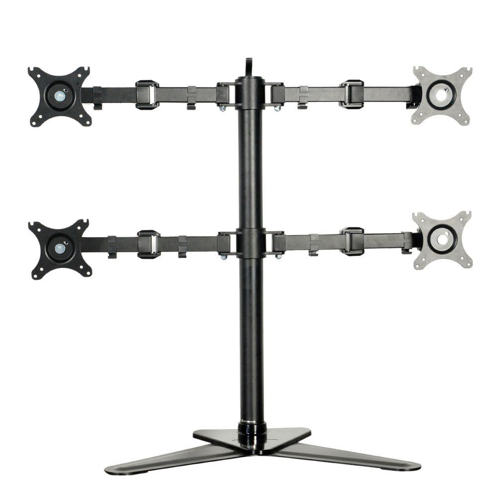 Full Motion Free Standing Quad Monitor Arm Desk Mounts Stand Fits