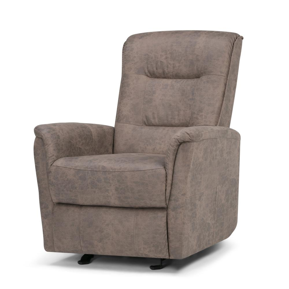 Simpli Home Percy Distressed Grey Faux Leather Recliner