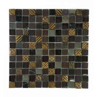 Monarchy Brown 11.7 in. x 11.7 in. x 7.94 mm Glass and Stone Mosaic Tile