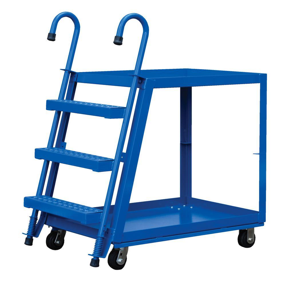 Vestil 1,000 lb. 28 in. x 48 in. Steel 2 Shelf Stock Picker Truck-Poly/Steel Wheel