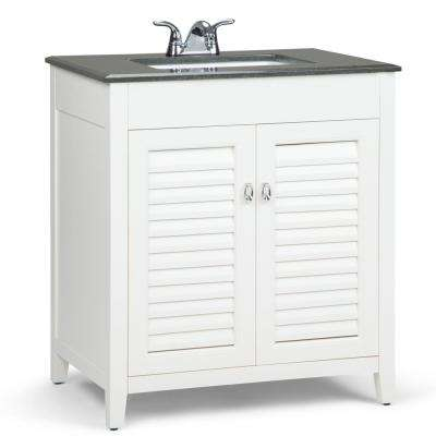 Adele 30 in. W x 21.5 in. D x 34.5 in. H Bath Vanity in Soft White with Granite Vanity Top in Black with White Basin