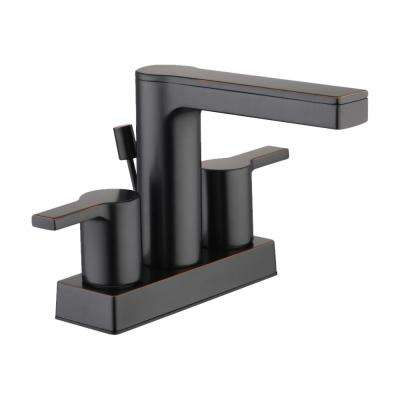 Modern Contemporary 4 in. Centerset 2-Handle Low-Arc Bathroom Faucet in Bronze