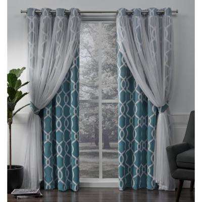 Carmela Turquoise Layered Geometric Blackout and Sheer Grommet Top Window Curtain