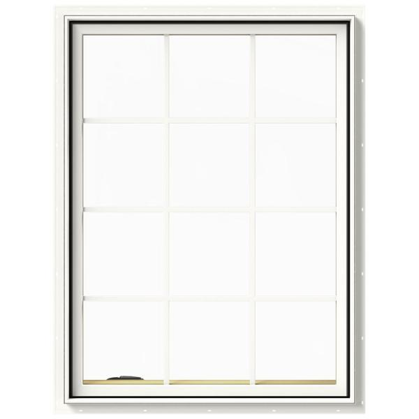 36 in. x 48 in. W-2500 Series White Painted Clad Wood Left-Handed Casement Window with Colonial Grids/Grilles