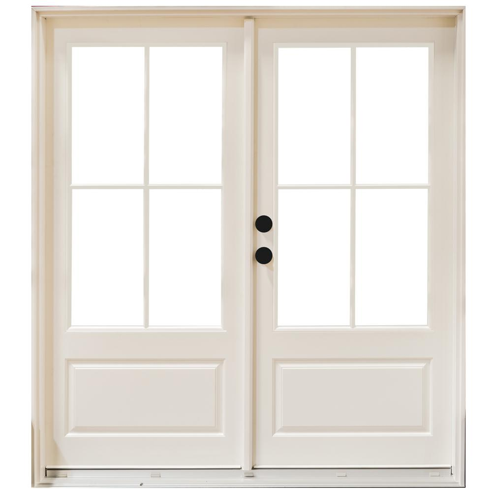 Mp doors 60 in x 80 in fiberglass smooth white right for Fiberglass patio doors