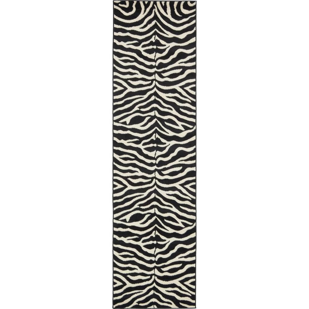 Wildlife Okapi Black 2' 7 x 10' 0 Runner Rug