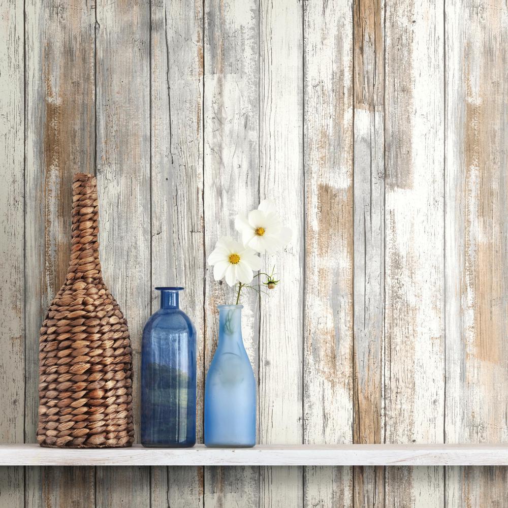 28.18 sq. ft. Distressed Wood Peel and Stick Wallpaper