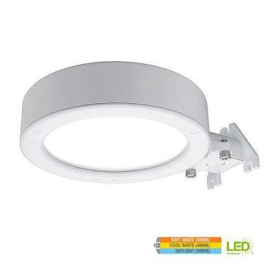 11 in. Round White 3500 Lumen Integrated LED Outdoor Security Area Light with Color Temperature Changing Feature