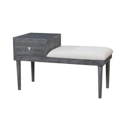 Lebrocq Mid-Century Modern Weathered Gray Style Bench