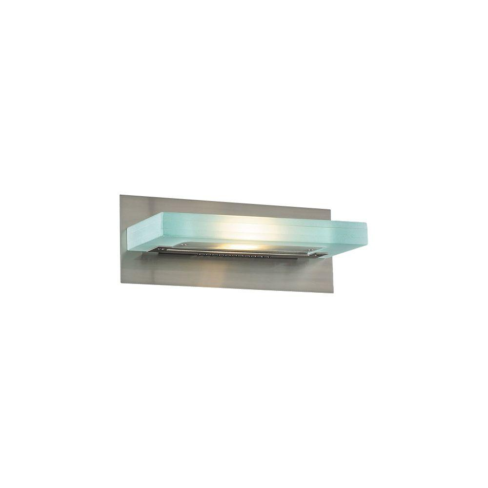 1-Light Satin Nickel Bath Vanity Light with Acid Frost Glass