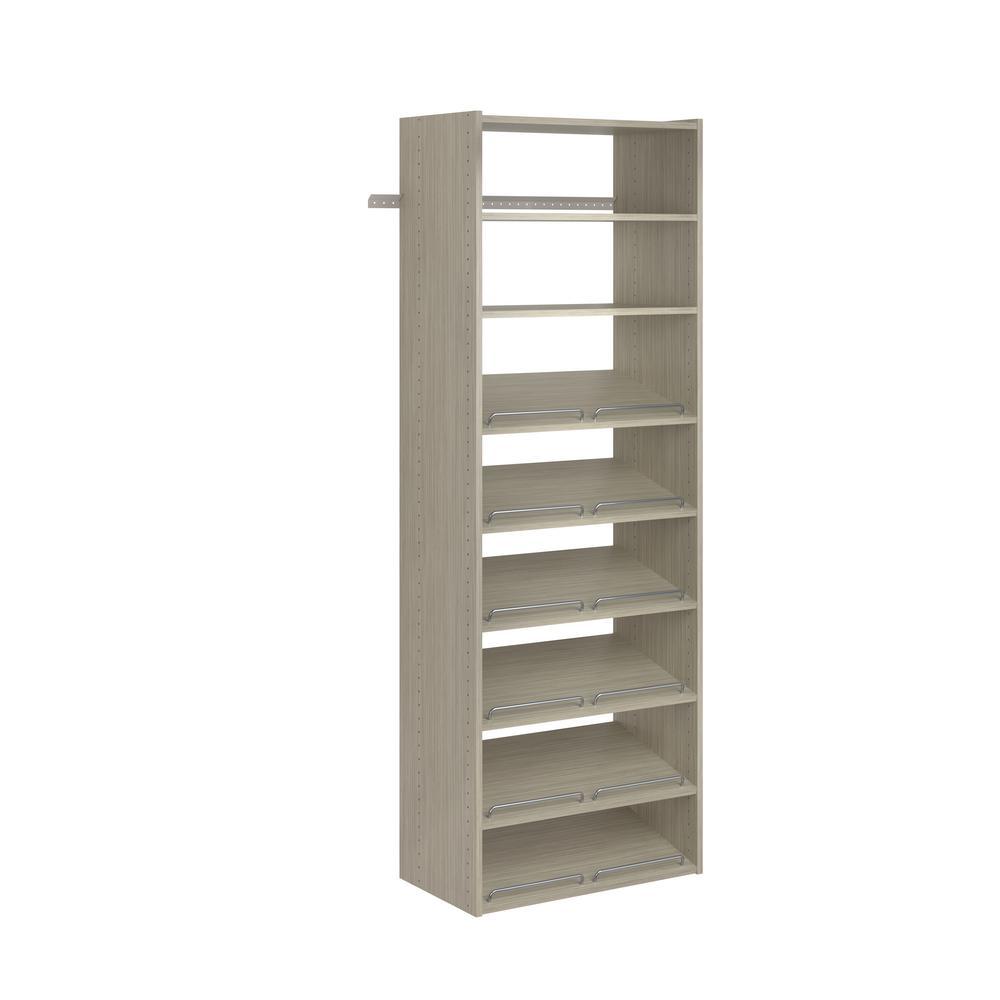 Closet Evolution Essential Shoe 25 in. W Rustic Grey Wood Closet Tower