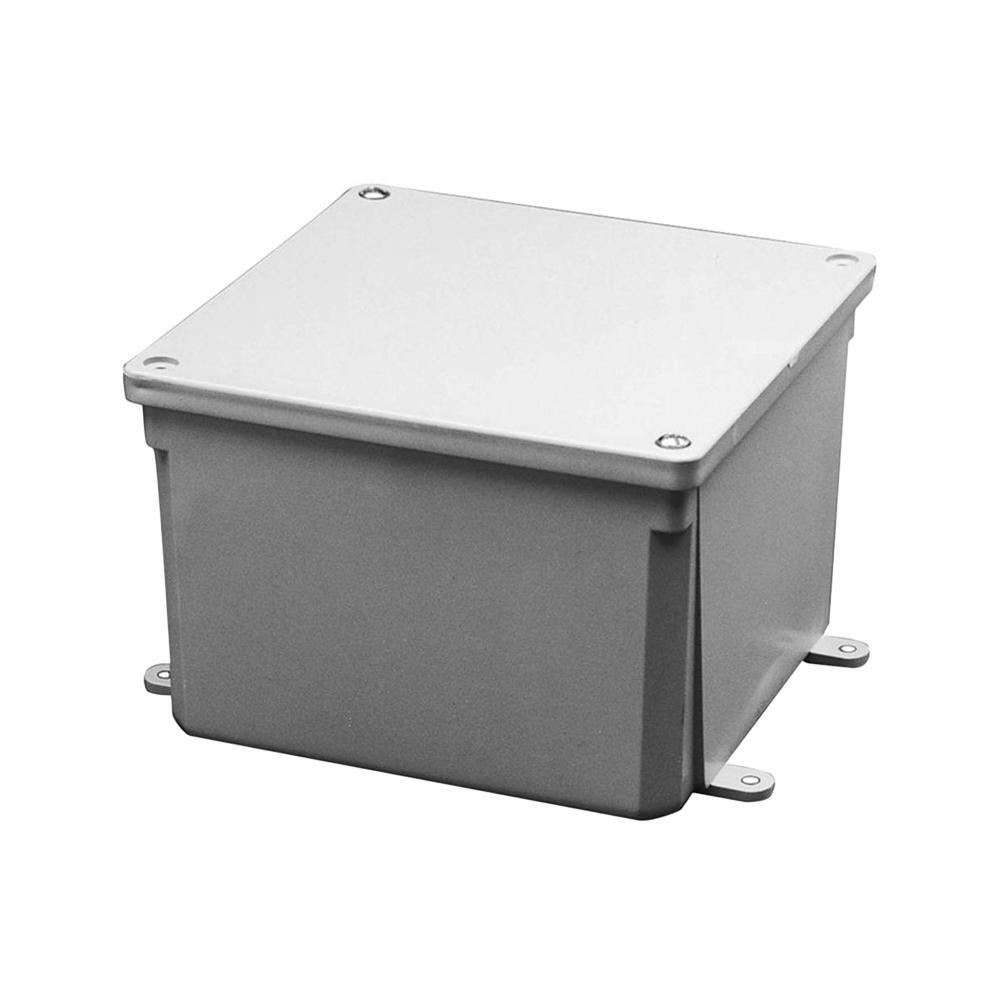 6 in. x 6 in. x 4 in. Gray PVC Junction Box (Case of 3)
