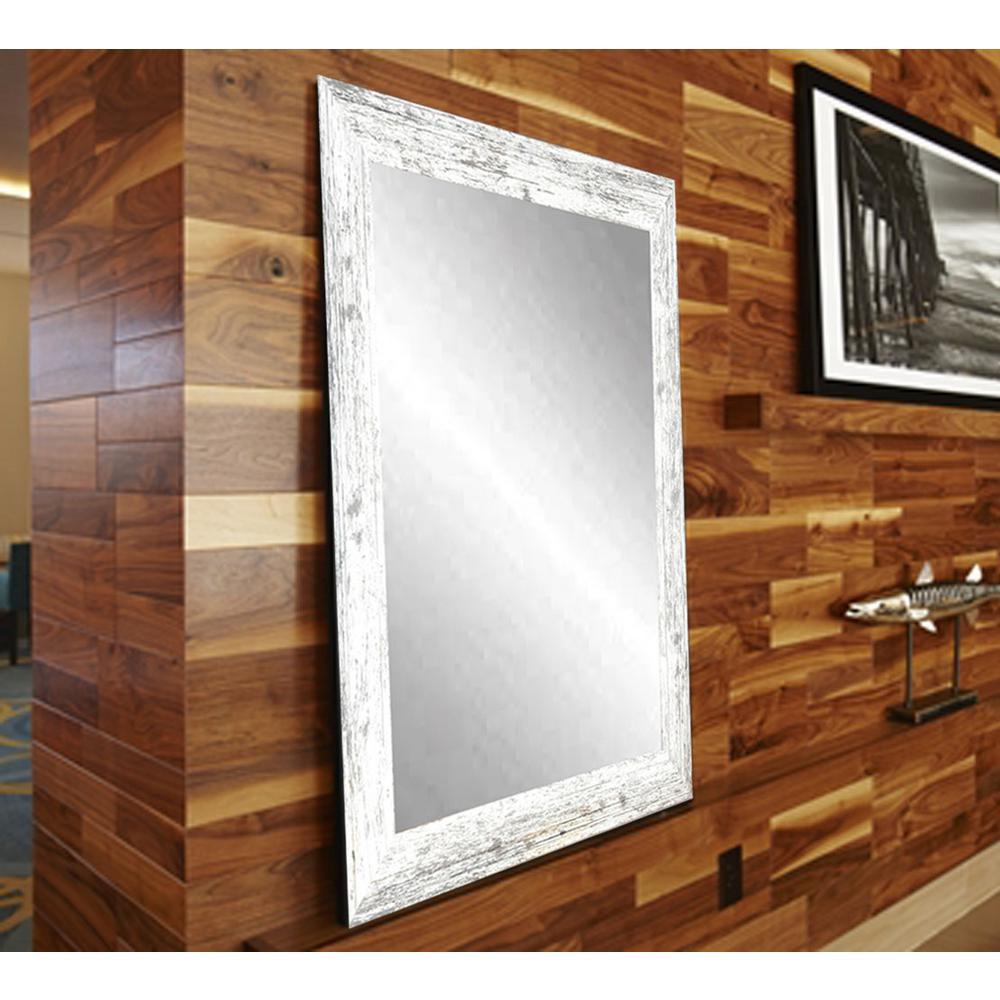 BrandtWorks Distressed White Barnwood Wall Mirror BM032L3