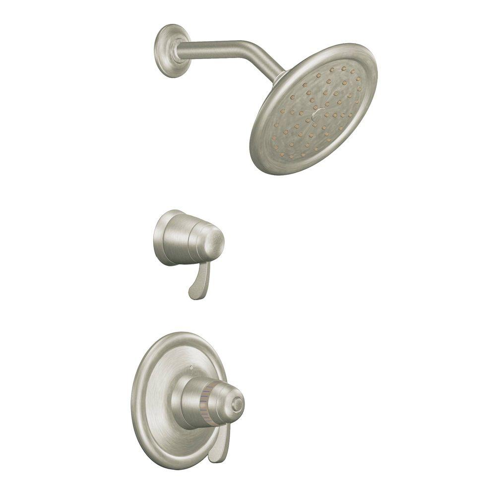 moen double handle shower faucet. MOEN ExactTemp Shower Trim Only Kit in Brushed Nickel  Valve Not Included