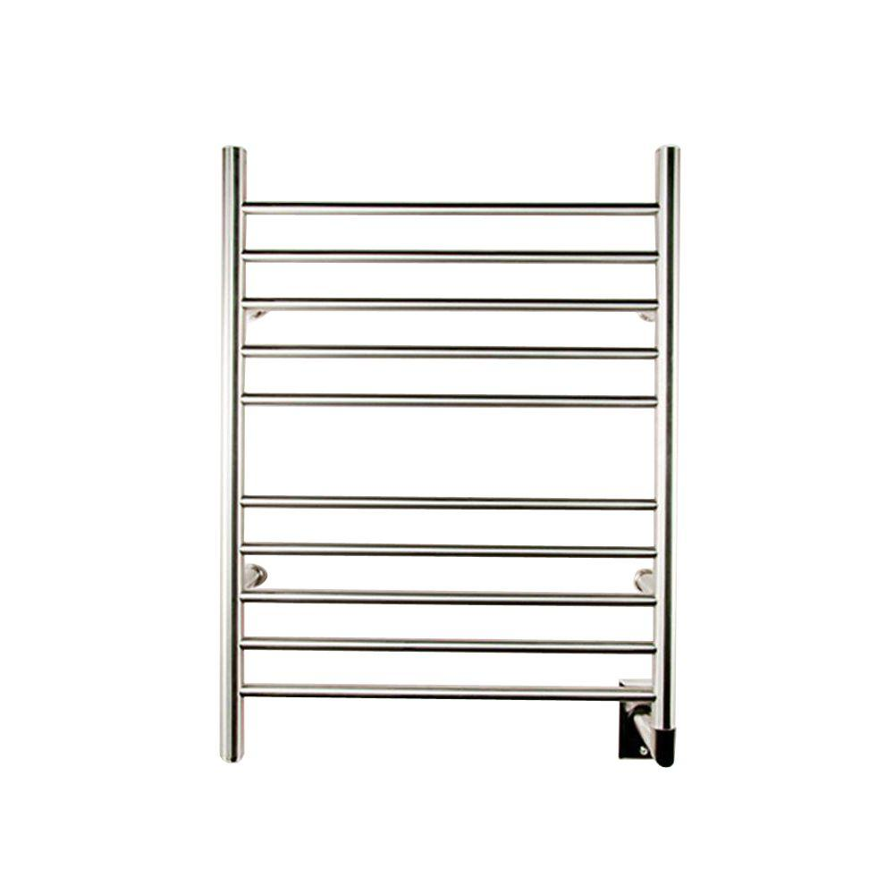 Amba Radiant Straight Hardwired 24 In. W X 32 In. H 10 Bar Electric Towel  Warmer In Brushed Stainless Steel RWH SB   The Home Depot