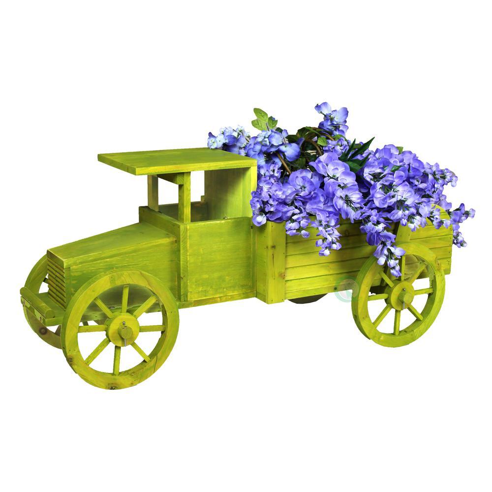 38 in. L x 17.7 in. D x 16 in. H Wooden Old Style Car Garden Planter
