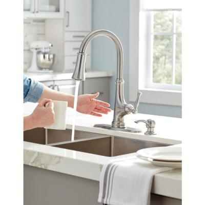 Touchless LED Single-Handle Pull-Down Sprayer Kitchen Faucet with Soap Dispenser in Stainless Steel