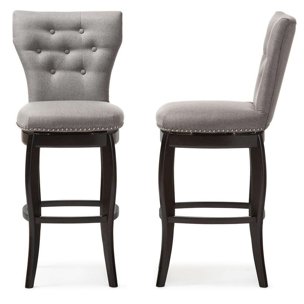 Leonice Gray Fabric Upholstered 2-Piece Bar Stool Set