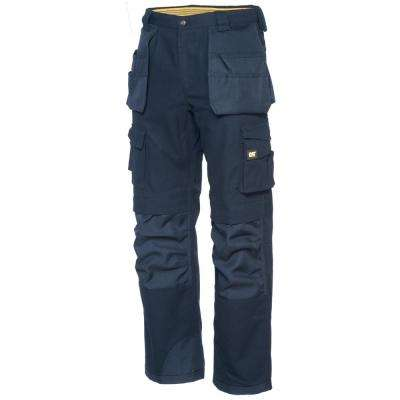 Men's 34 in. W x 30 in. L Navy Cotton/Polyester Canvas Heavy Duty Cargo Work Pant