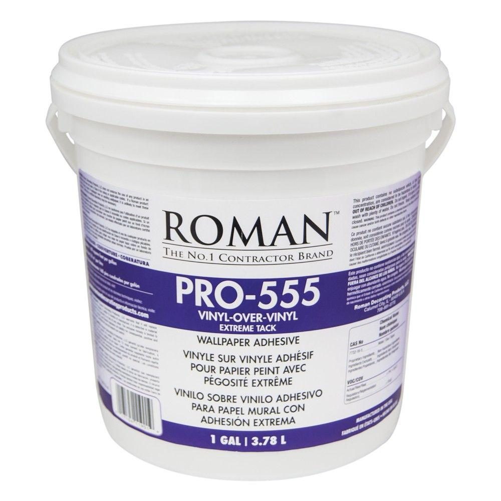 Roman pro 555 1 gal extreme tack wallpaper adhesive for Wallpaper with adhesive backing