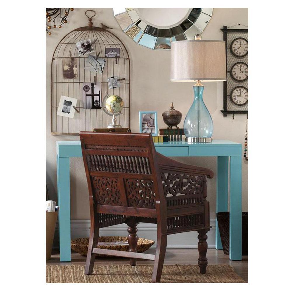 Maharaja Walnut Wood Hand-Carved Arm Chair