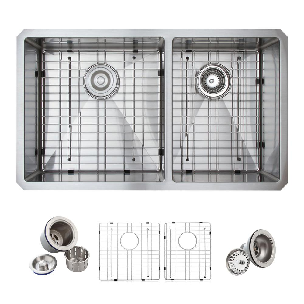 Medium image of glacier bay all in one undermount stainless steel 33 in  double bowl 60 40 kitchen sink in satin 4124f   the home depot