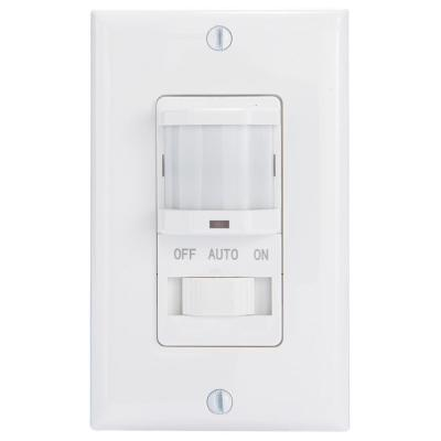 IOS Series 500-Watt Occupancy Switch with Manual Override In-Wall Decorator 150-Degree Coverage Pattern, White