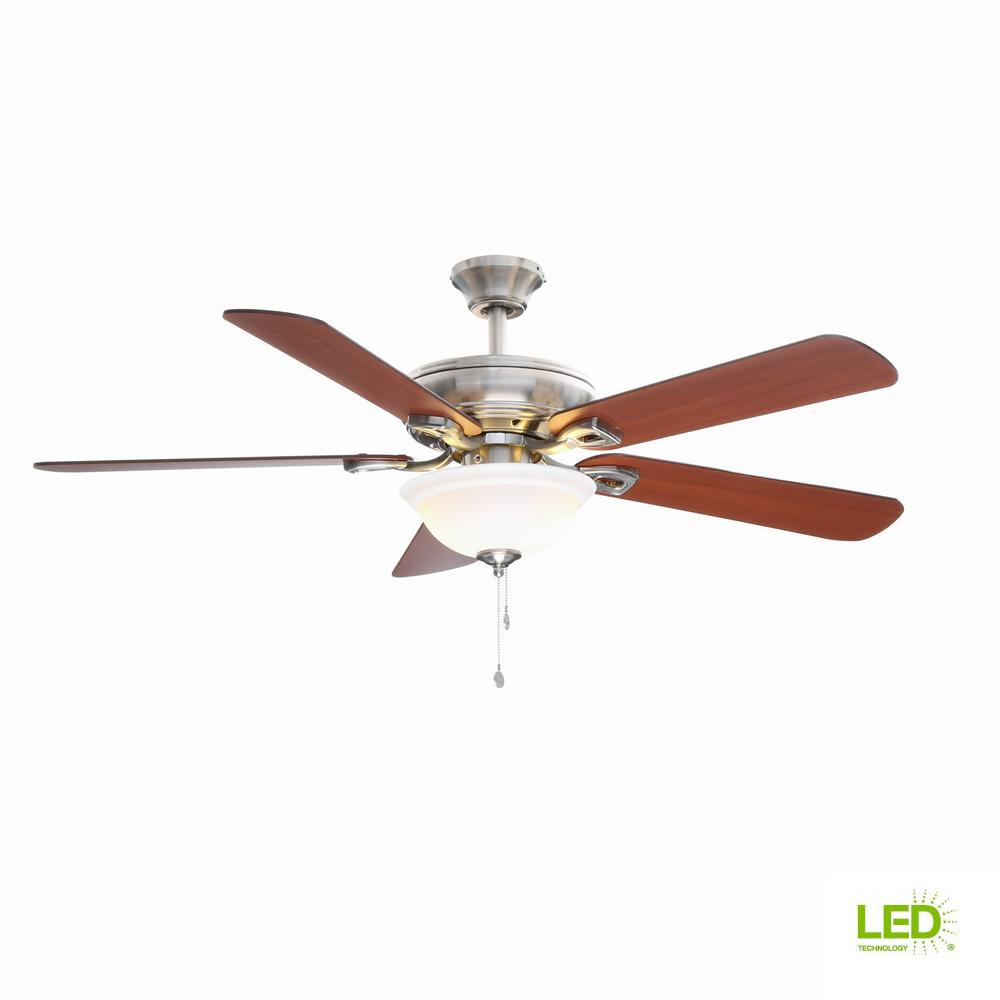 Hampton Bay Rothley 52 in. LED Brushed Nickel Ceiling Fan with Light on