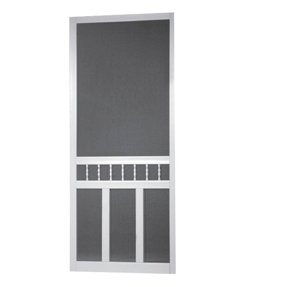 Bon Screen Tight 30 In. X 80 In. Waccamaw Solid Vinyl White Screen Door With