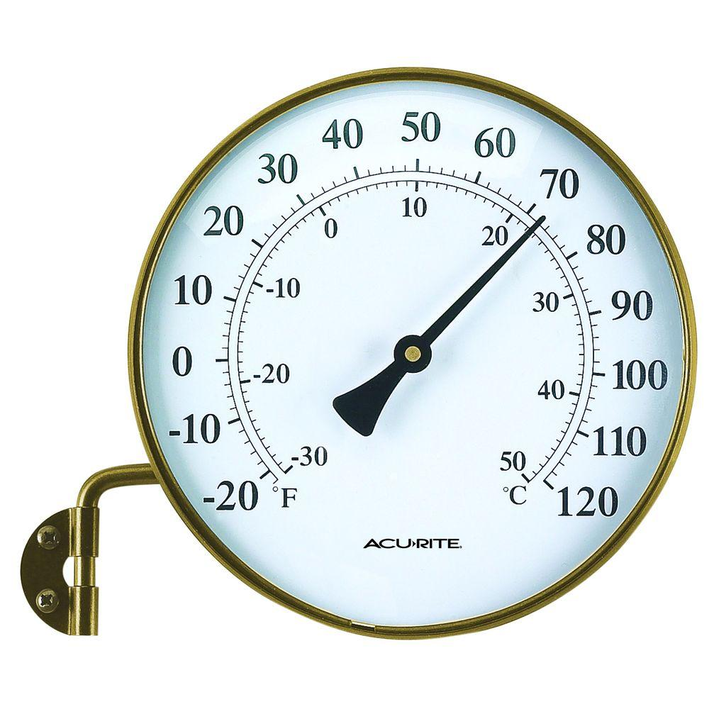 AcuRite 6 in. Antique Brass Analog Thermometer with Pivoting Wall Mount Bracket