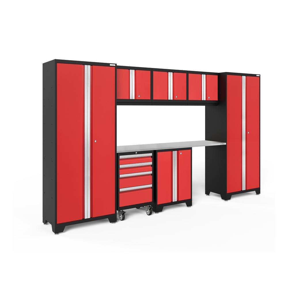 Bold 3.0 132 in. W x 75.25 in. H x 18 in. D 24-Gauge Welded Steel Stainless Steel Worktop Cabinet Set in Red (8-Piece)