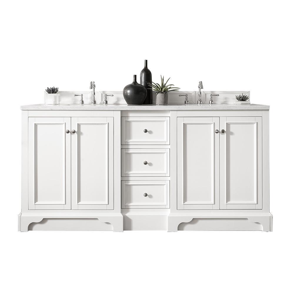 De Soto 72 in. W Double Vanity in Bright White with Quartz Vanity Top in Snow White with White Basin