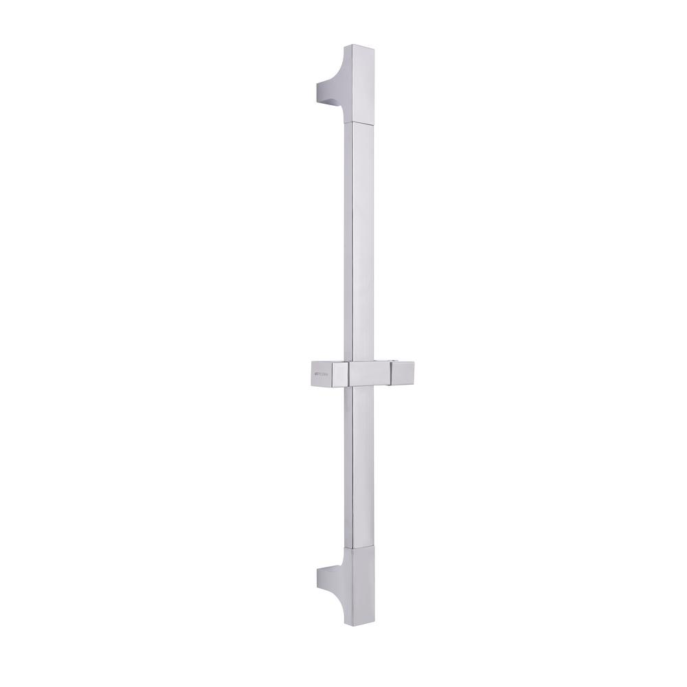 1-Spray Square Wall Bar Shower Kit in Brushed Nickel