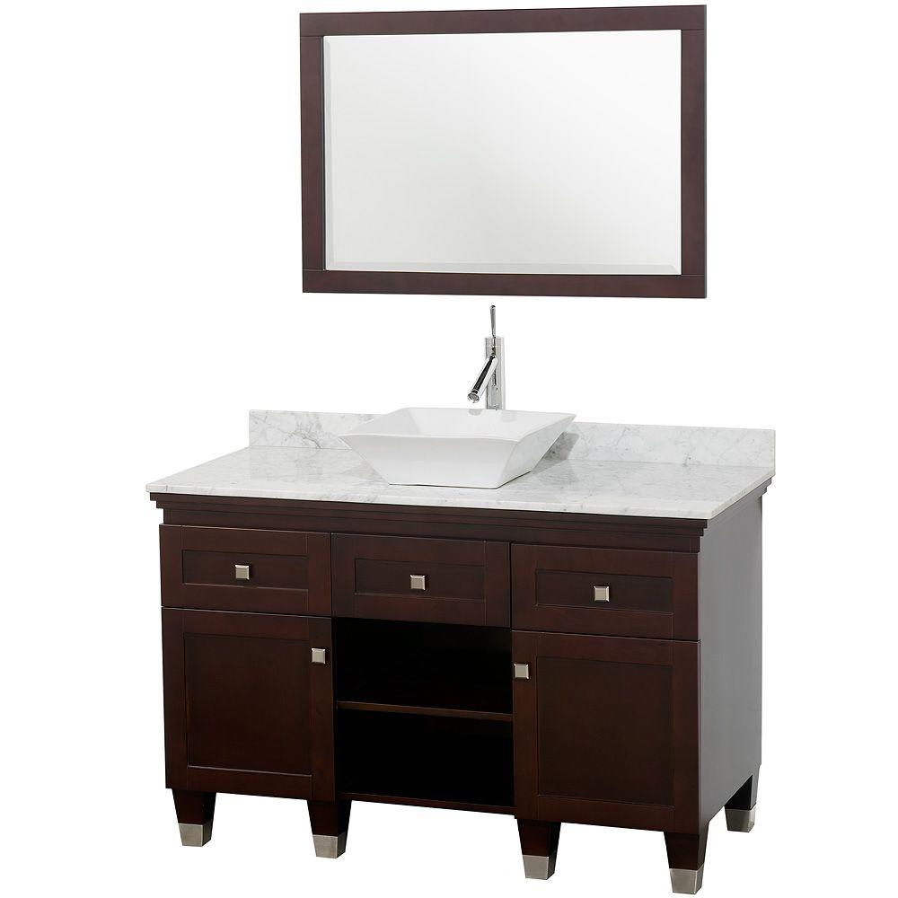 Wyndham Collection Premiere 48 in. Vanity in Espresso with Marble Vanity Top in Carrara White with White Porcelain Sink and Mirror