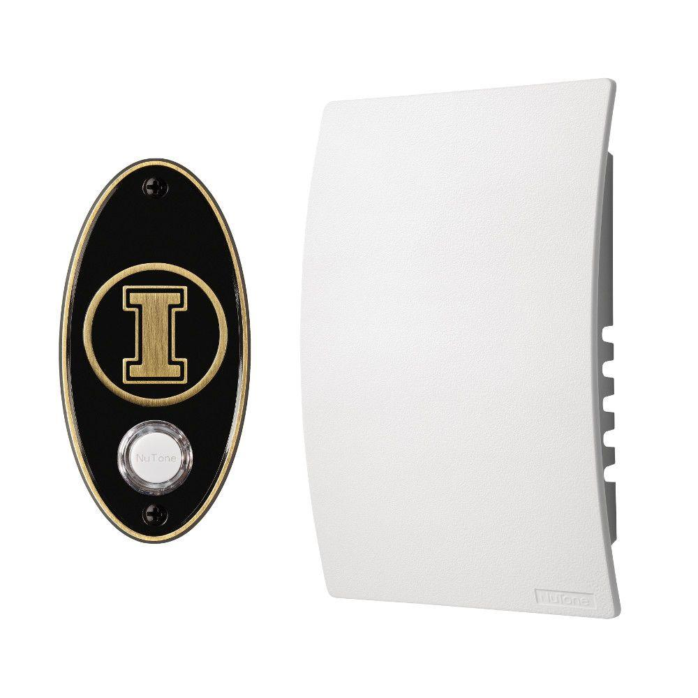 NuTone College Pride University of Illinois Wired/Wireless Door Chime Mechanism and Pushbutton Kit - Antique Brass