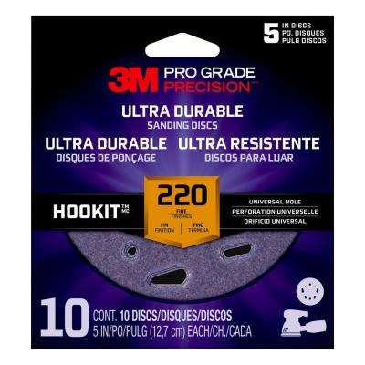 Pro Grade Precision 5 in. 220-Grit Ultra Durable Universal Hole Sanding Disc (10-Pack)