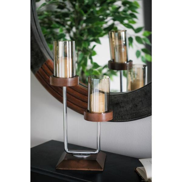 Brown Mango Wood and Smoked Beige Glass 2-Light Hurricane Candle Holder