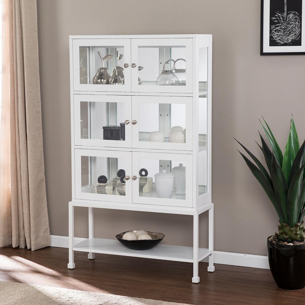 Stoneridge White Contemporary Storage Curio Cabinet with Light