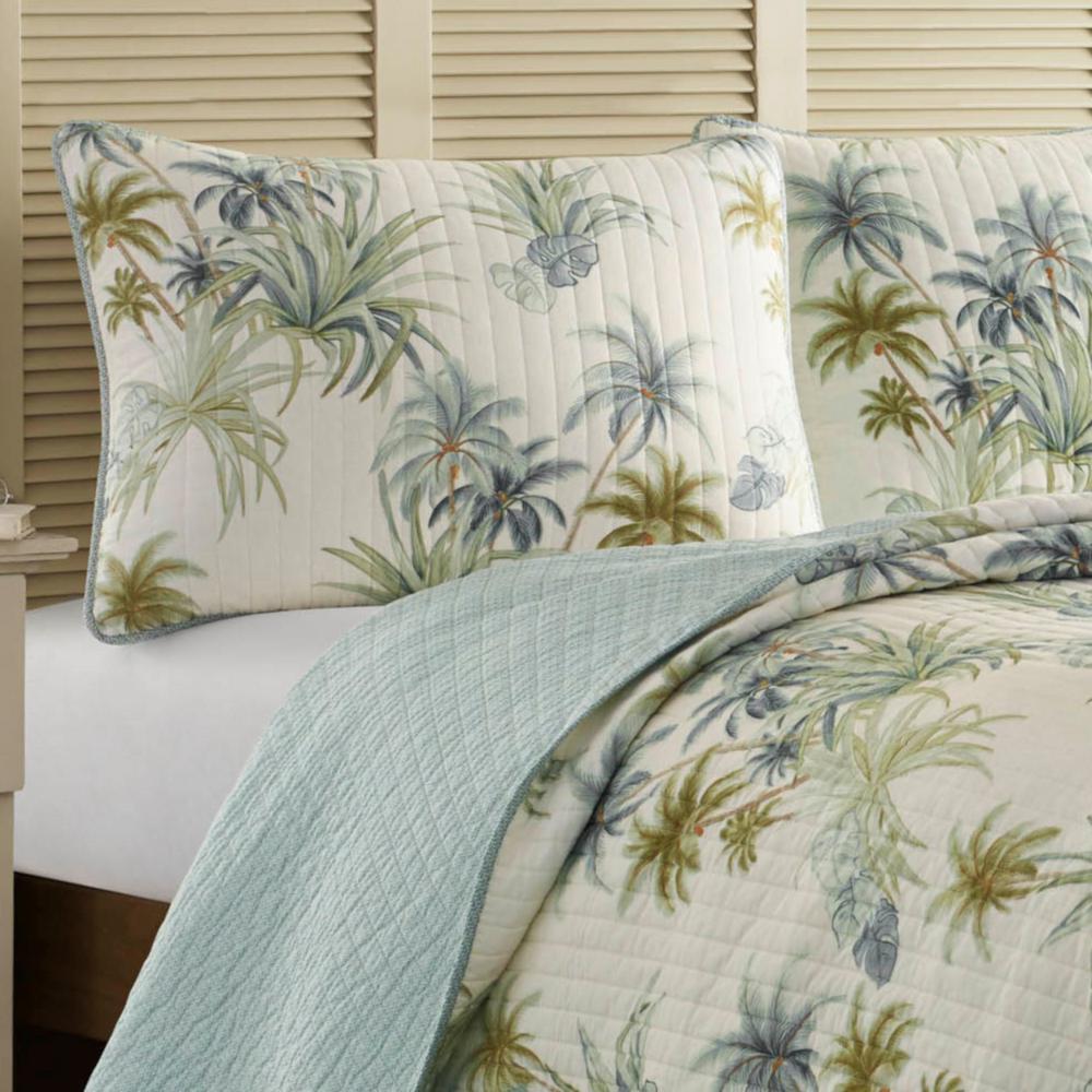 Serenity Palms Aqua Blue Cotton Standard Sham