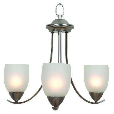 Mirror Lake 3-Light Brushed Nickel Hanging Chandelier with White Etched Glass Shade