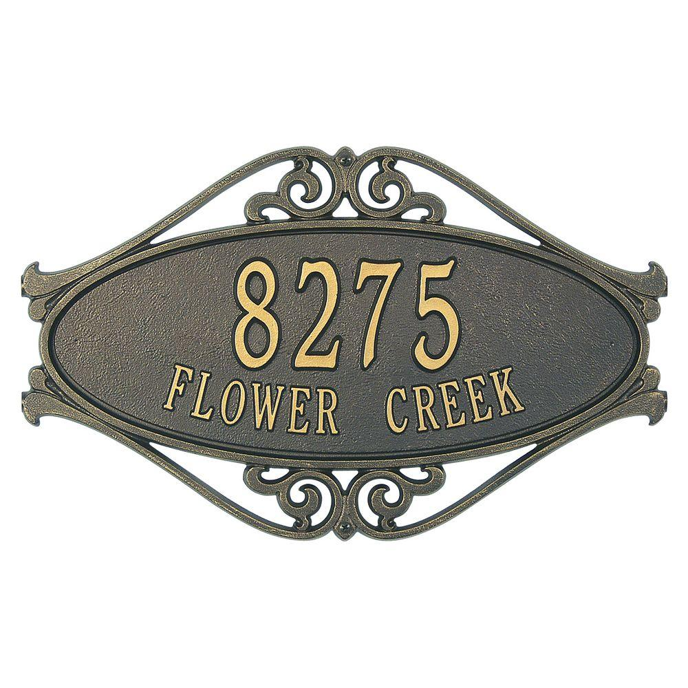 Hackley Fretwork Oval Bronze/Gold Standard Wall Two Line Address Plaque