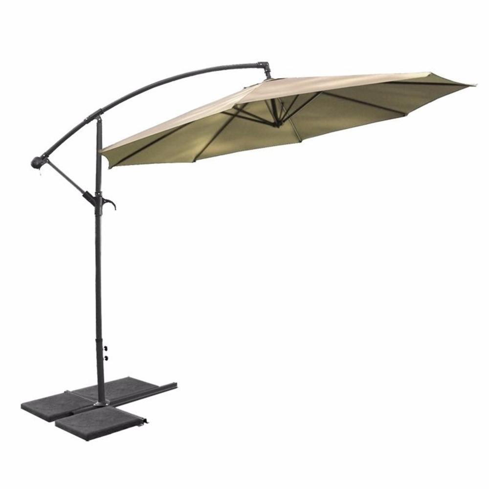 10 ft. Aluminum Outdoor Hanging Market Patio Umbrella in Tan